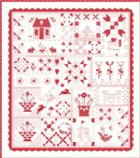 "My Redwork Garden - Moda Quilt Top Kit - by Bunny Hill Designs - Finished Size 68"" x 77"" - KIT2950"
